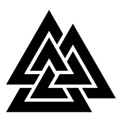 Valknut sign symblol icon black color vector illustration flat style image