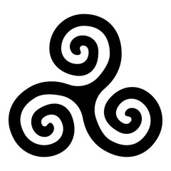 Triskelion or triskele symbol sign icon black color vector illustration flat style image