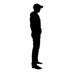 Man standing in cap view with side icon black color vector illustration flat style image