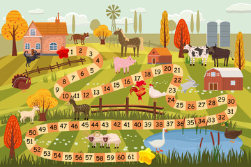 Farm animals board game, cow, bull, sheep, rooster, chicken, dog, cat, ram, goat, horse, duck, goose, turkey, farm buildings, rural landscape, breeding, vector, illustration, isolated, cartoon style