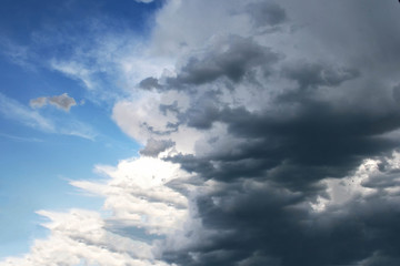 The blue sky with dark clouds on it