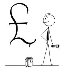 Cartoon stick drawing conceptual illustration of businessman with brush and paint can and big black United Kingdom pound sterling currency sign or symbol painted or written on wall.