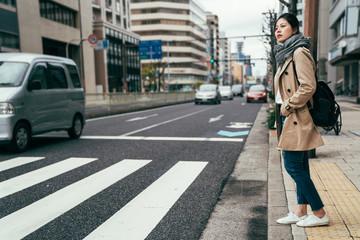 people walking waiting for traffic lights