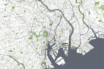 map of the city of Tokyo, Kanto, Island Honshu, Japan
