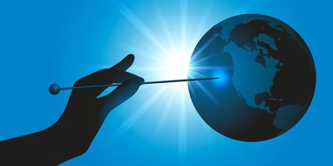 Concept pour la protection de l'environnement avec une main qui pointe une aiguille sur la planète terre, pour symboliser le risque imminent, de sa destruction