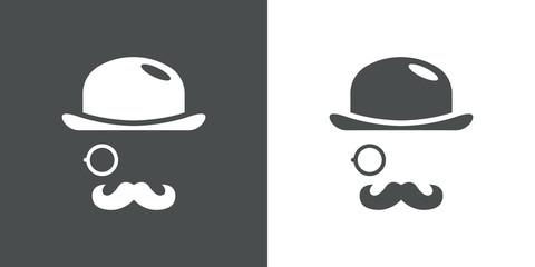 Icono plano con bombín monóculo y bigote en gris y blanco