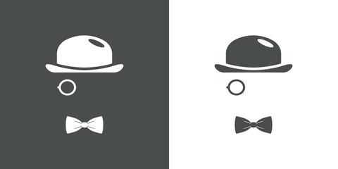 Icono plano con bombín monóculo y corbata de lazo en gris y blanco
