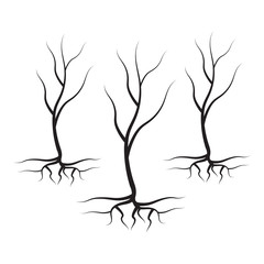 Vector tree logo. Tree with leaves vector silhouette