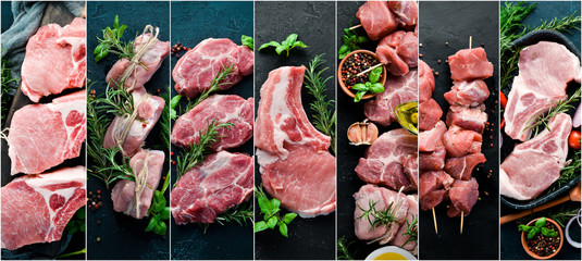 Photo collage Raw meat and steak. Top view. Wall mural
