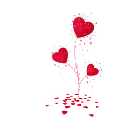 Flower from red paper hearts. Valentines day card on white background. Vector illustration