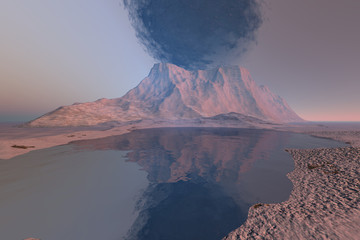 Volcano, a rocky landscape, black smoke in the sky and reflection on the lake.