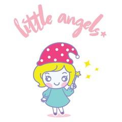 Little Angels yellow hair vector.