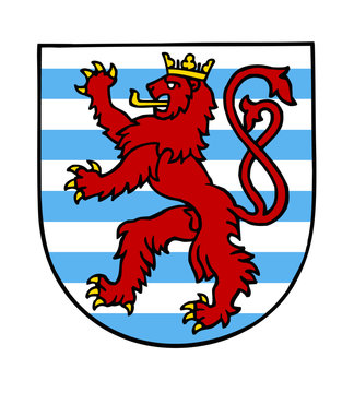 Luxembourg national emblem red lion, blue and white stripes clipart