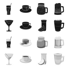 Isolated object of drink and bar logo. Collection of drink and party vector icon for stock.