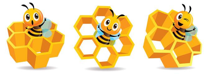 Cartoon cute bee mascot with honey cells set. Cartoon cute bee with big Honey Cells. Honeycomb vector illustration isolated - fototapety na wymiar
