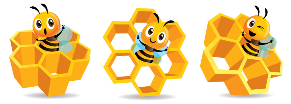 Cartoon cute bee mascot with honey cells set. Cartoon cute bee with big Honey Cells. Honeycomb vector illustration isolated