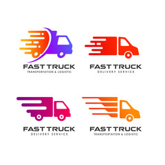 delivery truck logo design. courier logo design template