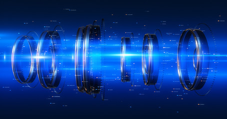 3D Abstract Background Render. Futuristic Shapes Moving And Rotating With Particles And Lens Flares