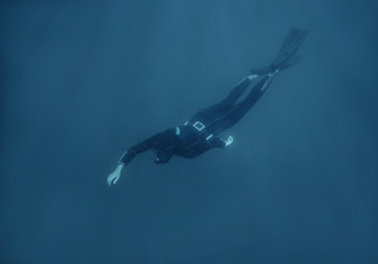 Male freediver in wetsuit underwater.