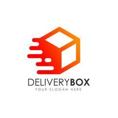delivery box logo design. courier logo design template