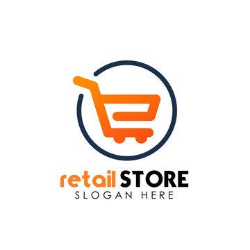retail store logo design template. shopping cart logo icon design