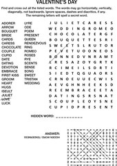 Valentine's Day, love, wedding, romantic, etc., themed word search puzzle (English language). Black and white. Answer included.