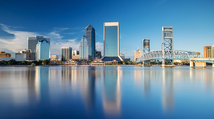 Skyline of Jacksonville, FL and Main Street Bridge