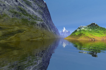 Daylight, an alpine landscape, rocks, a snowy mountain, reflection on the water and a blue sky.