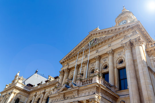 Cape Town City Hall historical building in downtown of the city