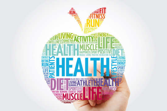 Health apple word cloud with marker, health concept background