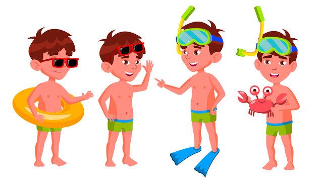Boy Kindergarten Kid Poses Set Vector. Preschool. Young Positive Person. Undressed. Summer Vacation. Water Park, Pool, Beach. For Banner, Flyer, Brochure Design. Isolated Cartoon Illustration