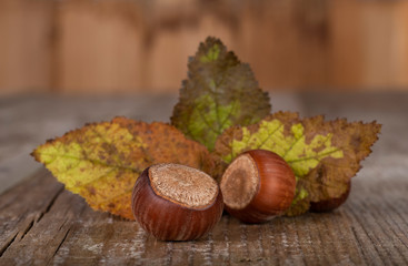 natural hazelnuts on wooden table