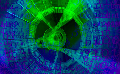 Technology Background. Binary Code. Abstract Big Data.