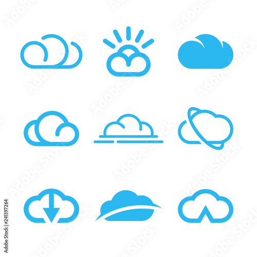 Cloud icons, cloud computing, weather symbols