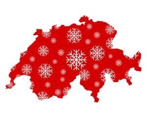 Karte der Schweiz mit Schneeflocken