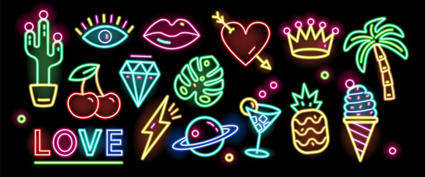 Bundle of symbols, signs or signboards glowing with colorful neon light isolated on black background. Collection of trendy design elements or decorations. Bright colored vector illustration.