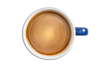Wall Murals Cafe Blue coffee cup. View from above. Isolated on white background