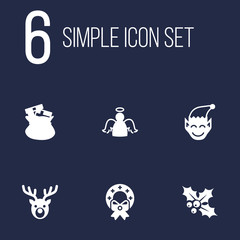 Set of 6 year icons set. Collection of elf, gift bag, garland elements.