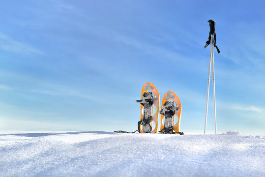 snowshoes and sticks on the snow under blue sky