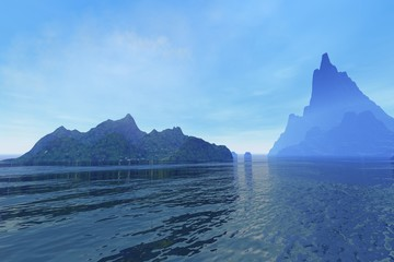 Islands, a tropical landscape, rocks and wonderful waters and clouds in the sky.