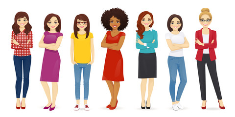 Collection of cute women dressed in different clothing. Female characters set vector illustration