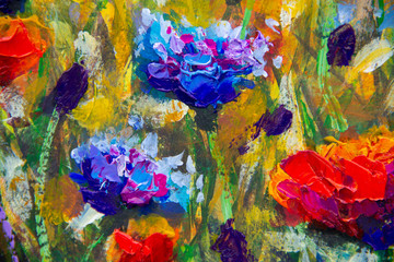 Flowers Hand drawn oil painting. Abstract closeup red flower art background. Blue flowers Oil painting on canvas. Color texture. Fragment of artwork. Spots of paint.