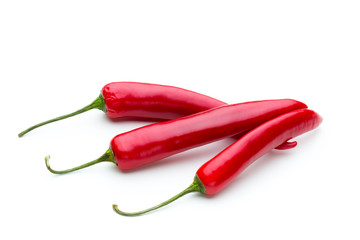 Red chilli pepper isolated on a white background.