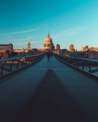 Printed roller blinds London Millennium Bridge St Paul's Cathedral on modern London city skyline blue sky