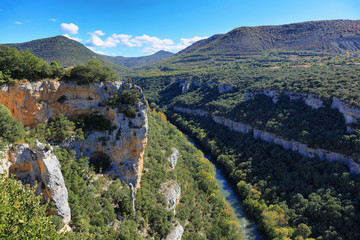 Viewpoint to the river Ebro Canyon in Spain