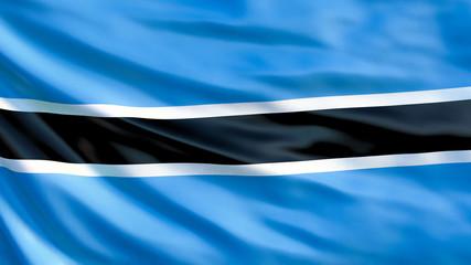 Botswana flag. Waving flag of Botswana 3d illustration