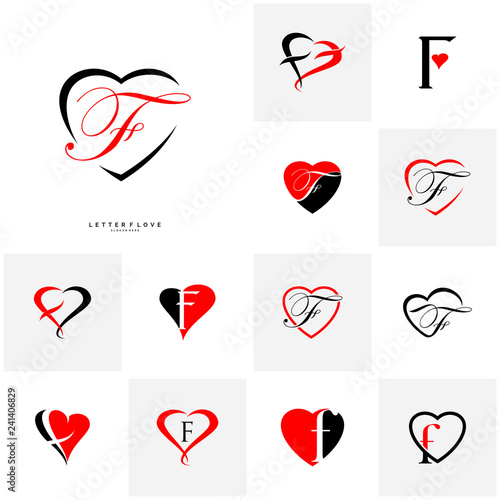 Set Of Letter F Heart Logo Icon Design Template Elements Initial F