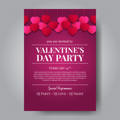 Invitation of valentine's day party poster template with purple background. love romance feminine. Vector illustration