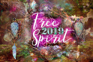 Pour feliciter 2019 Free Spirit on abstract spiritual background with sacred geometry