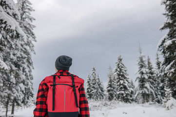 Traveler with a backpack in a warm jacket looks at the winter forest
